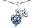 Star K™ 8mm Heart Shape Simulated Aquamarine Double Hearts Pendant Necklace style: 306888