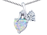 Star K™ 8mm Heart Shape Created Opal Double Hearts Pendant Necklace style: 306892