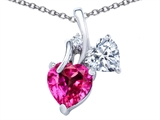 Original Star K™ 8mm Heart Shape Created Pink Sapphire Double Hearts Pendant style: 306893
