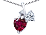 Star K™ 8mm Heart Shape Created Ruby Double Hearts Pendant Necklace style: 306894