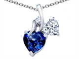 Star K™ 8mm Heart Shape Created Sapphire Double Hearts Pendant Necklace style: 306895