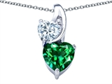 Star K™ 8mm Heart Shape Simulated Emerald Double Hearts Pendant Necklace style: 306898