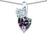 Original Star K™ 8mm Heart Shape Mystic Topaz Double Hearts Pendant style: 306899