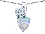 Original Star K™ 8mm Heart Shape Simulated Opal Double Hearts Pendant style: 306900