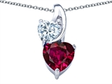 Original Star K™ 8mm Heart Shape Created Ruby Double Hearts Pendant style: 306902