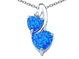 Star K™ 8mm Heart Shape Blue Created Opal Double Hearts Pendant Necklace style: 306905