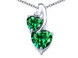 Star K™ 8mm Heart Shape Simulated Emerald Double Hearts Pendant Necklace style: 306906