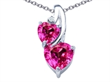 Star K™ 8mm Heart Shape Created Pink Sapphire Double Hearts Pendant Necklace style: 306909