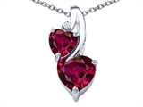 Star K™ 8mm Heart Shape Created Ruby Double Hearts Pendant Necklace style: 306910