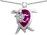 Star K™ Large Mother and Baby Turtle family Pendant Necklace with 12x8mm Pear Shape Created Pink Sapphire style: 306913