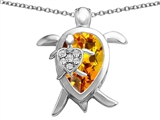 Star K™ Large Mother and Baby Turtle family Pendant Necklace with 12x8mm Pear Shape Simulated Citrine style: 306919