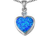 Star K™ 10mm Heart Shape Blue Created Opal Heart Pendant Necklace style: 306927