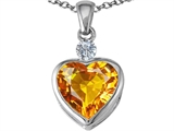 Star K™ 10mm Heart Shape Simulated Citrine Heart Pendant Necklace style: 306928