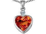 Star K™ 10mm Heart Shape Simulated Orange Mexican Fire Opal Heart Pendant Necklace style: 306929