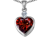 Star K™ 10mm Heart Shape Simulated Garnet Heart Pendant Necklace style: 306930