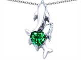 Star K™ 7mm Heart Shape Simulated Emerald Two Swimming Dolphin Pendant Necklace style: 306938