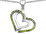 Star K™ Round Simulated Peridot Double Hearts Pendant Necklace style: 306944