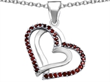 Star K™ Round Simulated Garnet Double Hearts Pendant Necklace style: 306946