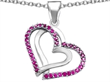 Star K™ Round Created Pink Sapphire Double Hearts Pendant Necklace style: 306947