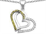 Star K™ Round Simulated Citrine Double Hearts Pendant Necklace style: 306950
