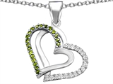 Star K™ Round Simulated Peridot and Cubic Zirconia Double Hearts Pendant Necklace style: 306951