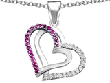 Star K™ Round Created Pink Sapphire Double Hearts Pendant Necklace style: 306954