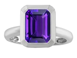 Star K™ 9x7mm Emerald Cut Octagon Solitaire Ring With Simulated Amethyst style: 306958