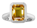 Star K™ 9x7mm Emerald Cut Octagon Solitaire Ring With Simulated Citrine style: 306961
