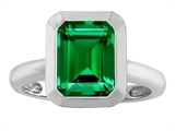 Star K™ 9x7mm Emerald Cut Octagon Solitaire Ring With Simulated Emerald style: 306962