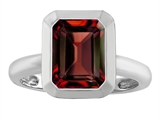 Star K™ 9x7mm Emerald Cut Octagon Solitaire Ring With Simulated Garnet style: 306963