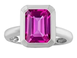 Star K™ 9x7mm Emerald Cut Octagon Solitaire Ring With Created Pink Sapphire style: 306967