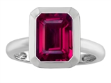 Star K™ 9x7mm Emerald Cut Octagon Solitaire Ring With Created Ruby style: 306968