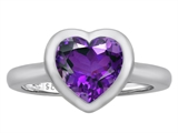 Star K™ 8mm Heart Shape Solitaire Ring With Simulated Amethyst style: 306971