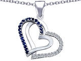 Star K™ Round Created Sapphire Double Hearts Pendant Necklace style: 306983