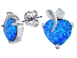 Star K™ 8mm Heart Shape Blue Created Opal and Cubic Zirconia Heart Earrings style: 306985