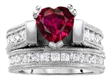 Star K™ 7mm Heart Shape Created Ruby Wedding Set style: 306994