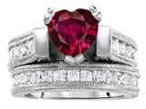 Original Star K™ 7mm Heart Shape Created Ruby Wedding Set style: 306994
