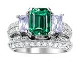 Original Star K™ 8x6mm Emerald Octagon Cut Simulated Emerald Wedding Set style: 306997