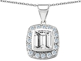 Star K™ Square Cushion Cut 8mm Simluated White Sapphire Pendant Necklace style: 307005