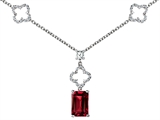 Star K™ Emerald Cut Created Ruby Necklace style: 307007
