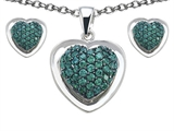 Star K™ Simulated Emerald Heart Shape Love Pendant with matching earrings style: 307008