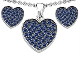Star K™ Created Sapphire Heart Shape Love Pendant with matching earrings style: 307011