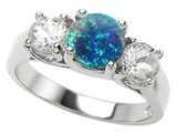 Original Star K™ 7mm Round Simulated Blue Opal Ring style: 307017