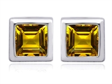 Star K™ 7mm Square Cut Simulated Citrine Earrings Studs style: 307035