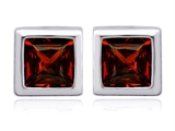Star K™ 7mm Square Cut Simulated Garnet Earrings Studs style: 307036