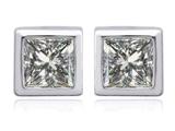 Star K™ 7mm Square Cut Genuine White Topaz Earrings Studs style: 307039