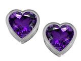 Star K™ 7mm Heart Shape Simulated Amethyst Heart Earrings Studs style: 307048