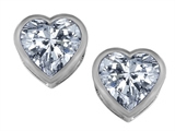 Star K™ 7mm Heart Shape Genuine White Topaz Heart Earrings Studs style: 307055