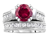 Star K™ 7mm Round Created Ruby Wedding Set style: 307058