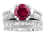 Original Star K™ 7mm Round Created Ruby Wedding Set style: 307058